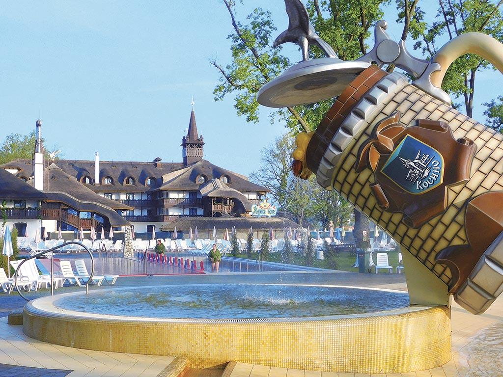 У найбільший термальний басейн гаряча вода тече з гігантського посуду: пивного келиха, пляшки з палінкою, пляшки з шампанським та чашки з кавою