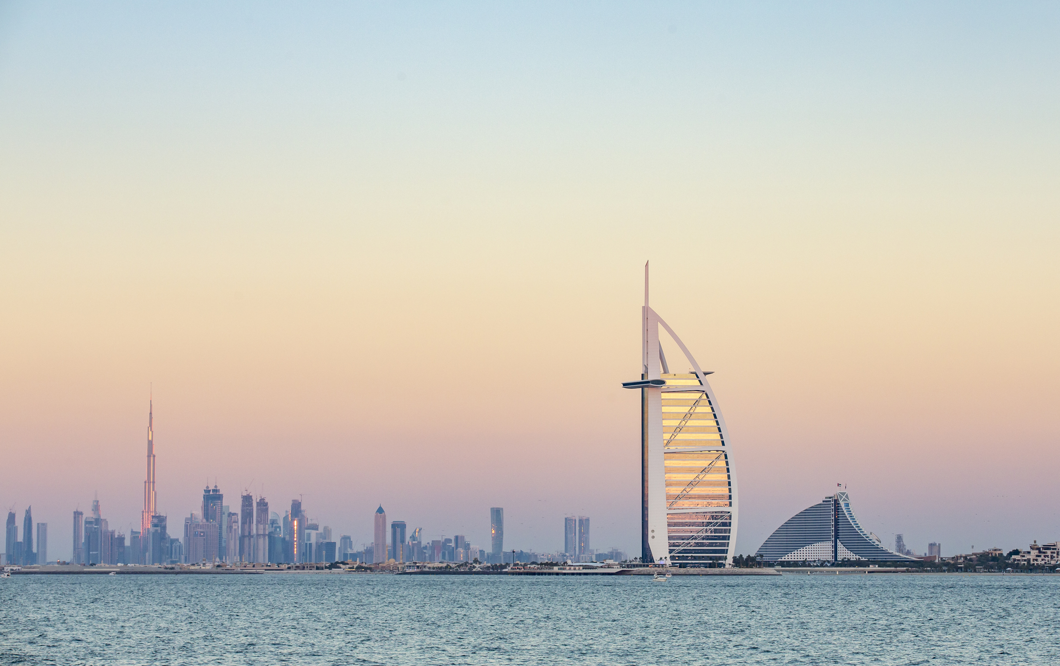 Dubai, United Arab Emirates, January 12th, 2018: Burj Al Arab Hotel at sunrise